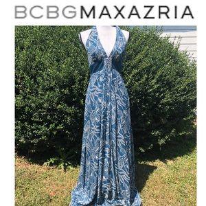BCBGMaxAzria halter sequins maxi dress size 4